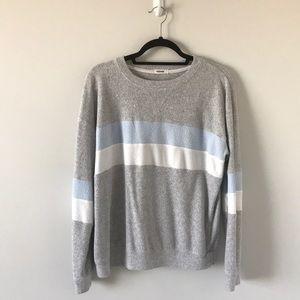 Garage Grey Sweater w/ Blue and White Stripe